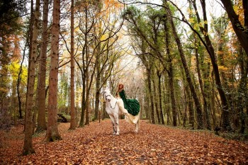 inter woodland rustic outdoor bride bridal wedding cape red hair curly makeup horse white celtic gaelic organic outdoor mythical myth creatrix photography 1